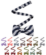 College Microfiber Striped Banded Bow Tie