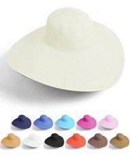 18 Black & 12 Sand Big Beautiful Solid Color Floppy Hat