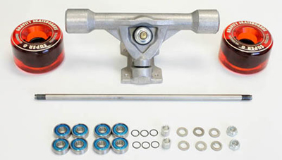 skateboard bearing spacer. you will need 8 bearings, 6 speed washers (included), 6+ regular axle 2 .400\ skateboard bearing spacer f