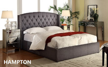 HAMPTON KING BED FRAME- CHARCOAL OR LINEN