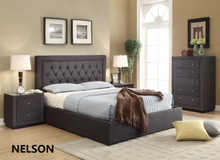 NELSON KING GAS LIFT BED FRAME - CHARCOAL OR LINEN