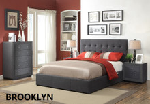 BROOKLYN DOUBLE BED FRAME - CHARCOAL OR LINEN