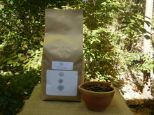 100% Jamaica Blue Mountain Coffee in 2 lb. biotre bag, with beans shown on lower right.