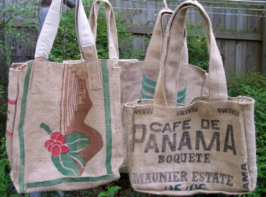 Extremely stout carry bags made from reclaimed coffee sacks - Large sized