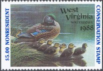 West Virginia Duck Stamp 1988 Wood Ducks Non Resident Hunter