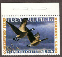 West Virginia Duck Stamp 1987 Canada Geese Top stamp with selvage