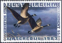 West Virginia Duck Stamp 1987 Canada Geese Non Resident Hunter