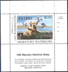 Washington Duck Stamp 1992 Yellow Lab Puppy / Canada Geese Hunter type