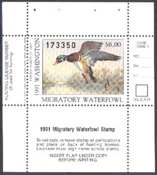 Washington Duck Stamp 1991 Drake Wood Duck (6.00)