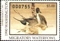 Washington Duck Stamp 1990 Pintails