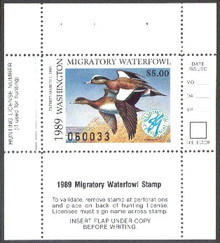 Washington Duck Stamp 1989 American Wigeon Hunter type
