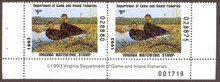 Virginia Duck Stamp 1993 Black Ducks Hunter pair with plate #, selvage on both sides
