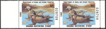 Virginia Duck Stamp 1990 Wood Ducks Hunter pair, selvage on both sides