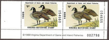 Virginia Duck Stamp 1989 Canada Geese Hunter pair with plate #, selvage on both sides