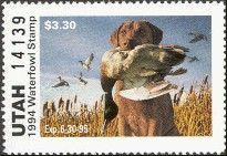 Utah Duck Stamp 1994 Chesapeake Bay Retriever / Mallards