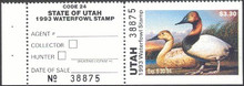 Utah Duck Stamp 1993 Canvasbacks Hunter type
