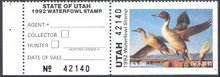 Utah Duck Stamp 1992 Pintails Hunter type