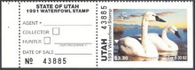 Utah Duck Stamp 1991 Tundra Swan Hunter type