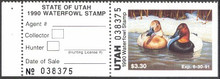 Utah Duck Stamp 1990 Canvasback Hunter type