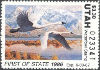 Utah Duck Stamp 1986 Whistling swans