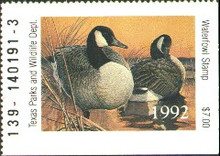 Texas Duck Stamp 1992 Canada Geese