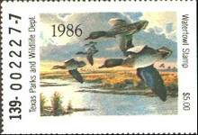 Texas Duck Stamp 1986 Green - Winged Teal