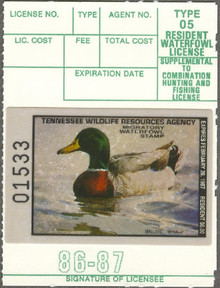 Tennessee Duck Stamp 1986 Mallard with out printing