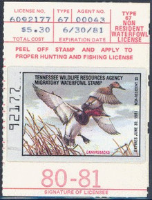 Tennessee Duck Stamp 1980 Canvasbacks Non Resident