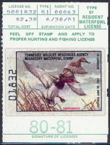Tennessee Duck Stamp 1980 Canvasbacks