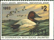 South Dakota Duck Stamp 1992 Canvasbacks