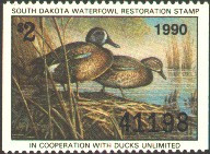 South Dakota Duck Stamp 1990 Blue - Winged Teal