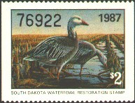 South Dakota Duck Stamp 1987 Blue Geese