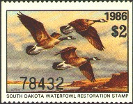 South Dakota Duck Stamp 1986 Canada Geese