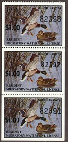 South Dakota Duck Stamp 1976 Mallards strip of 3 with variety