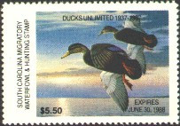 South Carolina Duck Stamp 1987 Black Ducks