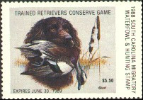 South Carolina Duck Stamp 1988 Wigeon / Boykin Spaniel