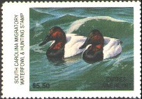South Carolina Duck Stamp 1986 Canvasbacks