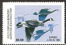 South Carolina Duck Stamp 1984 Canada Geese Hunter variety with serial # on reverse