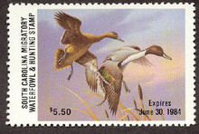 South Carolina Duck Stamp 1983 Pintails Hunter variety with serial # on reverse