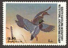 South Carolina Duck Stamp 1982 Mallards Hunter variety with serial # on reverse