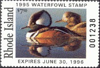 Rhode Island Duck Stamp 1995 Hooded Mergansers