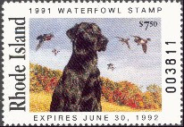 Rhode Island Duck Stamp 1991 Black Lab & Wood Ducks
