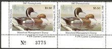 Pennsylvania Duck Stamp 1987 Pintails Horizontal Pair with Plate #