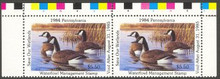 Pennsylvania Duck Stamp 1984 Canada Geese Horizontal Pair with Color Bar