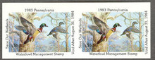 Pennsylvania Duck Stamp 1983 Wood Ducks Horizontal Imperforate Pair