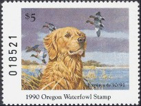 Oregon Duck Stamp 1990 Golden Retriever / Mallards