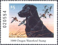 Oregon Duck Stamp 1989 Black Lab / Pintail