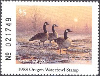 Oregon Duck Stamp 1988 Canada Geese