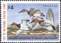 Oklahoma Duck Stamp 1987 Canvasbacks