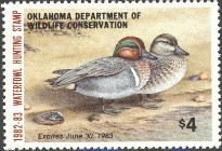 Oklahoma Duck Stamp 1982 Green - Winged Teal